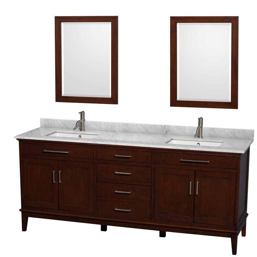 Hatton 80-inch W Vanity in Dark Chestnut with Marble Top in Carrara White, Square Sinks and Mirro...