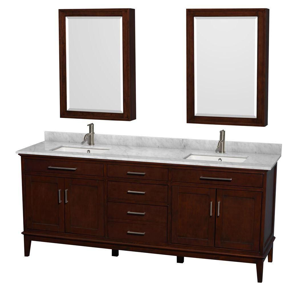 Hatton 80-inch W Vanity in Dark Chestnut with Marble Top in Carrara White and Medicine Cabinet