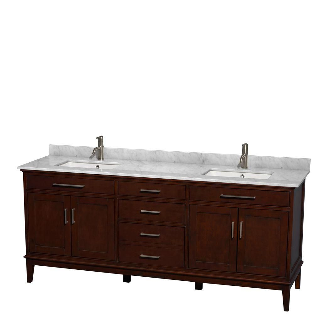 Hatton 80-inch W 3-Drawer 4-Door Vanity in Brown With Marble Top in White, Double Basins