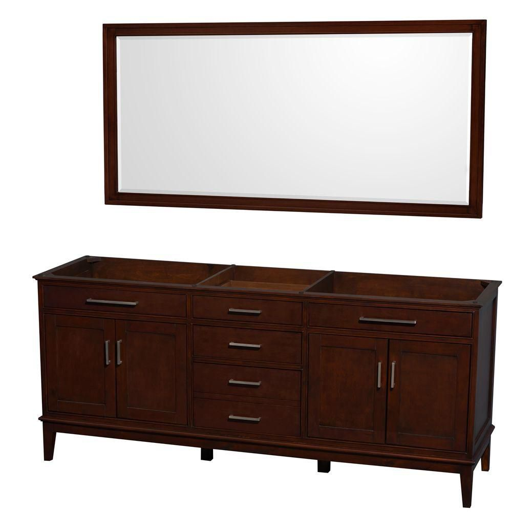 Hatton 78 1/2-Inch  Vanity Cabinet with Mirror in Dark Chestnut