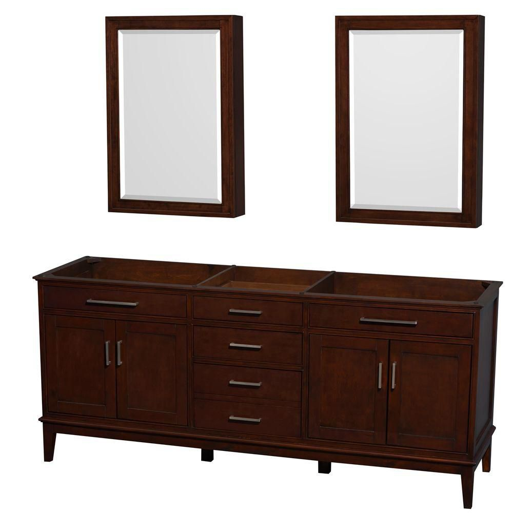 Wyndham Collection Hatton 78 1/2-Inch  Vanity Cabinet with Mirror Medicine Cabinet in Dark Chestnut