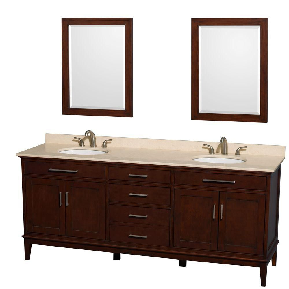 Hatton 80-inch W Double Vanity in Dark Chestnut with Marble Top, Sinks and 24-inch Mirrors