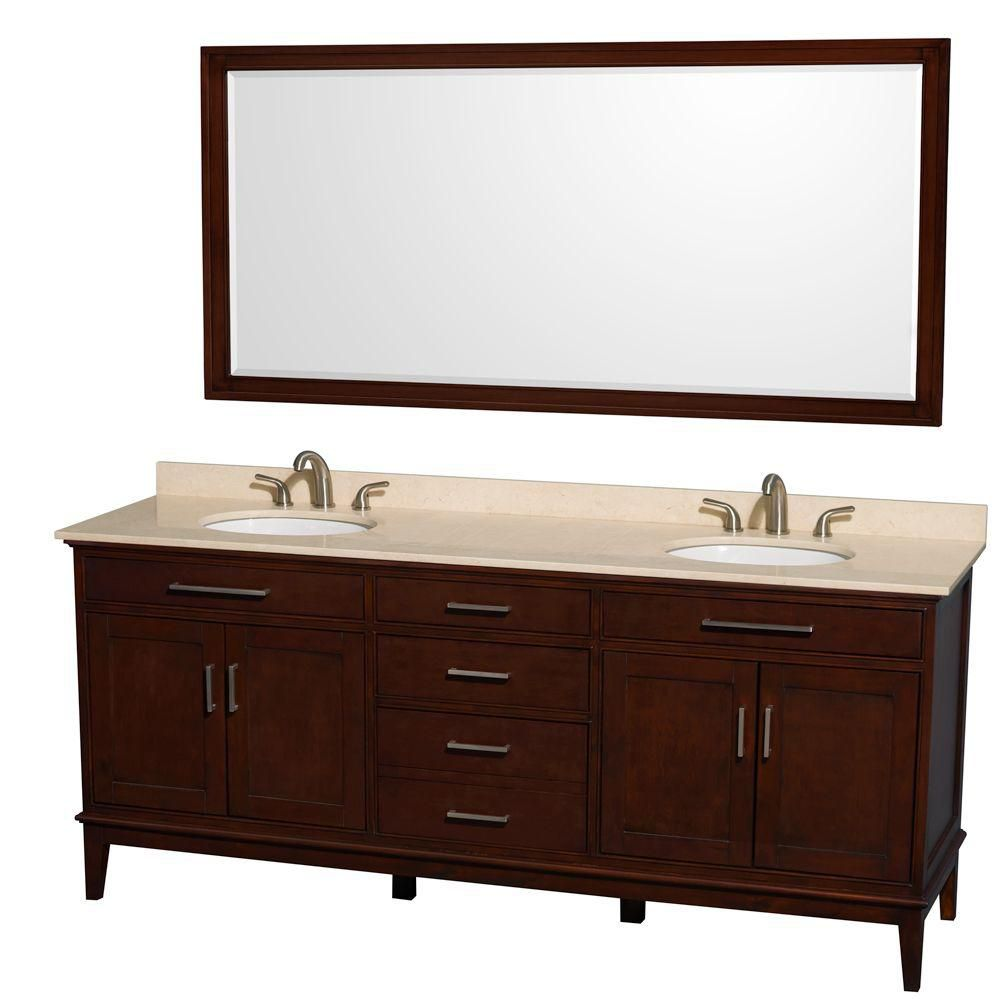 Hatton 80-inch W Vanity in Dark Chestnut with Marble Top in Ivory and 70-inch Mirror