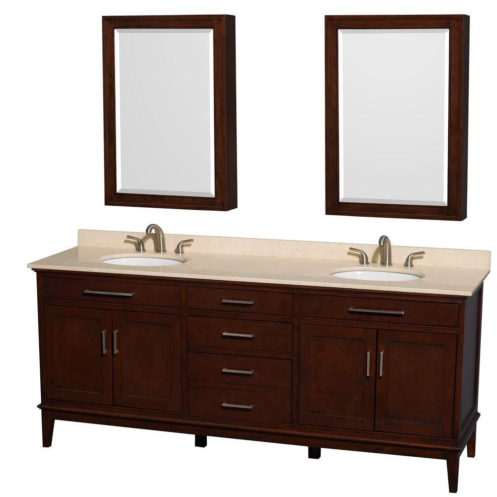 Hatton 80-inch W Vanity in Dark Chestnut with Marble Top in Ivory, Sinks and Medicine Cabinet
