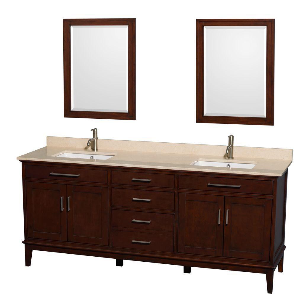 Hatton 80 po Meuble dbl. châtain foncé et revêtement en marbre ivoire, éviers carrés et miroirs