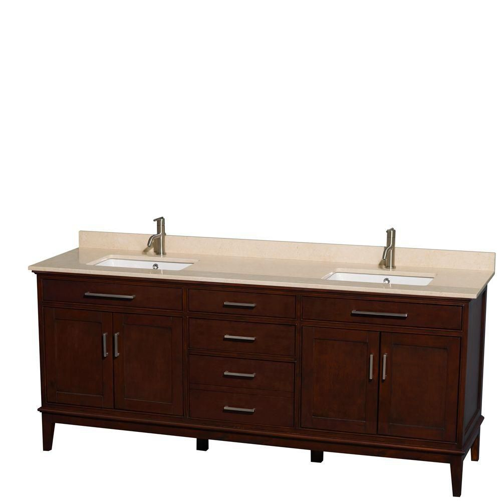 Hatton 80-inch W Double Vanity in Dark Chestnut with Marble Top in Ivory and Square Sinks