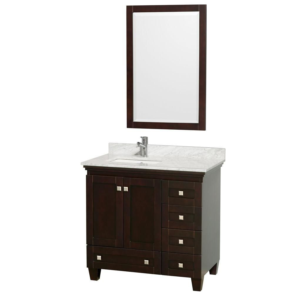 Acclaim 36-inch W Vanity in Espresso with Top in Carrara White, Square Sink and Mirror