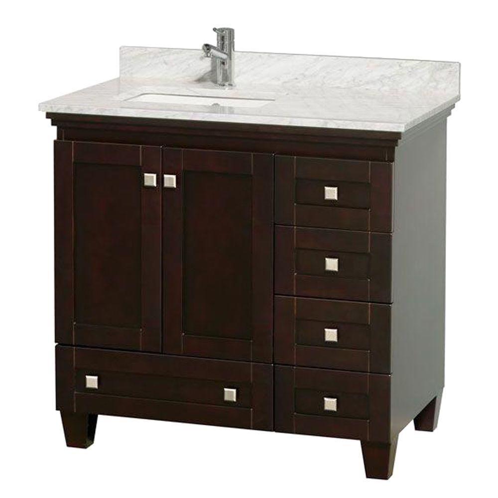 Acclaim 36-inch W Vanity in Espresso with Top in Carrara White and Square Sink