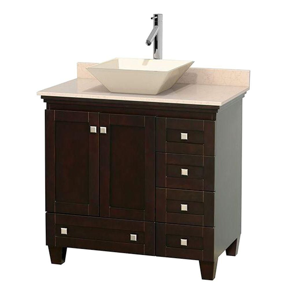Acclaim 36-inch W Vanity in Espresso with Top in Ivory and Bone Sink