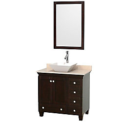 Wyndham Collection Acclaim 36-inch W 5-Drawer 2-Door Vanity in Brown With Marble Top in Beige Tan With Mirror