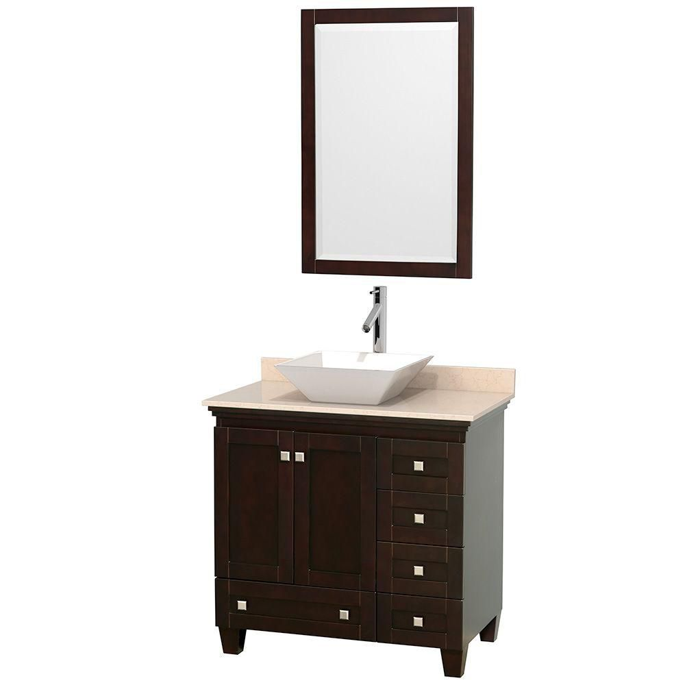 Acclaim 36-inch W Vanity in Espresso with Top in Ivory, White Sink and Mirror