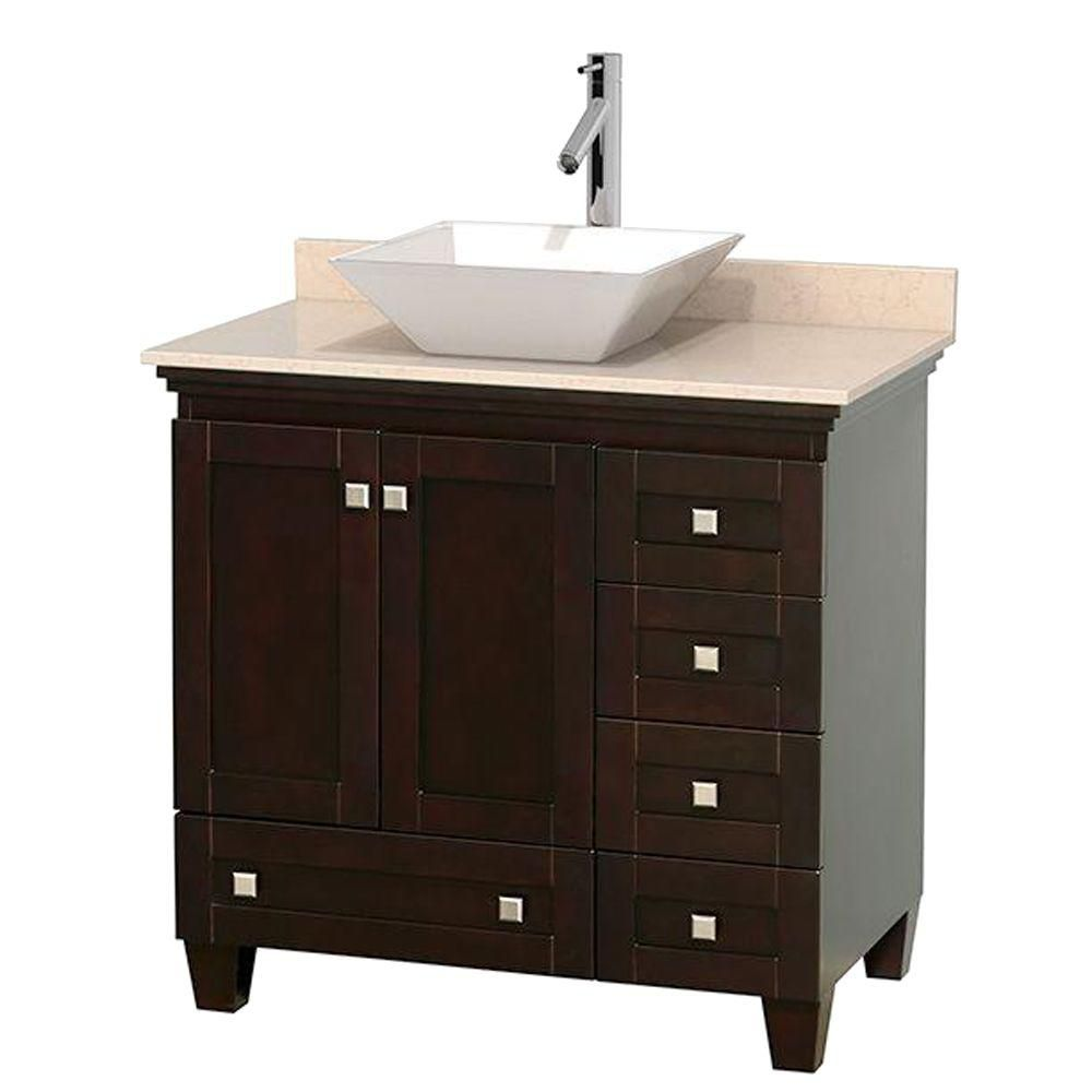 Acclaim 36-inch W Vanity in Espresso with Top in Ivory and White Sink