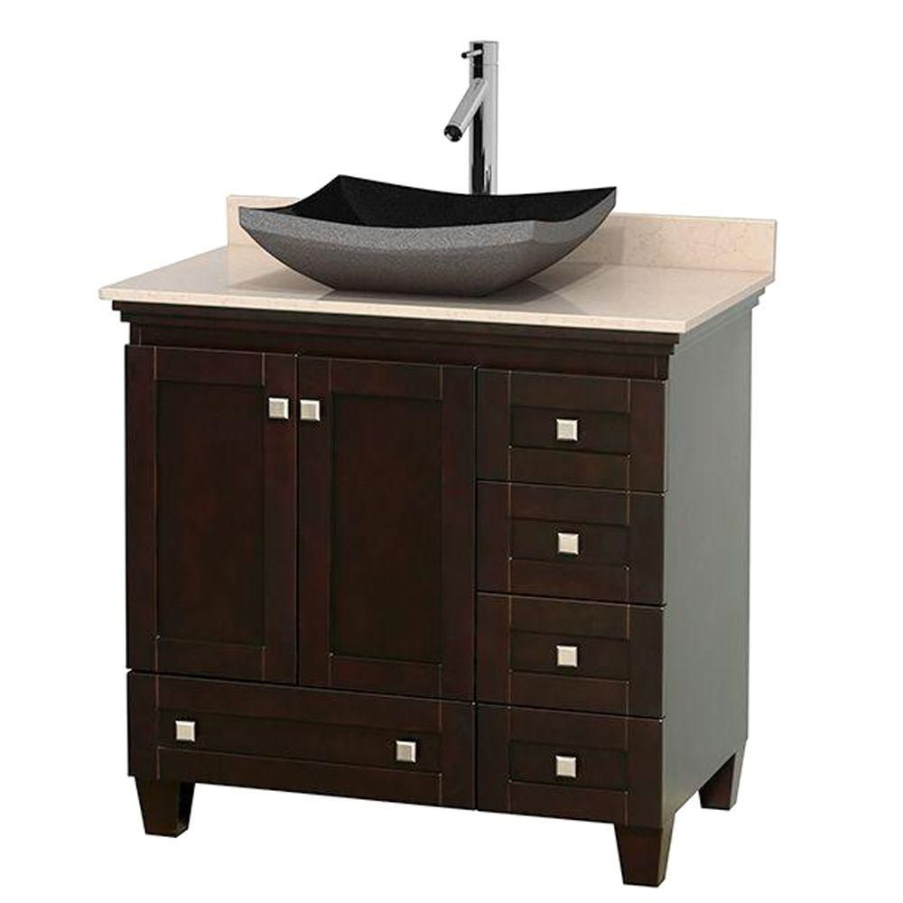 Acclaim 36-inch W Vanity in Espresso with Top in Ivory and Black Sink
