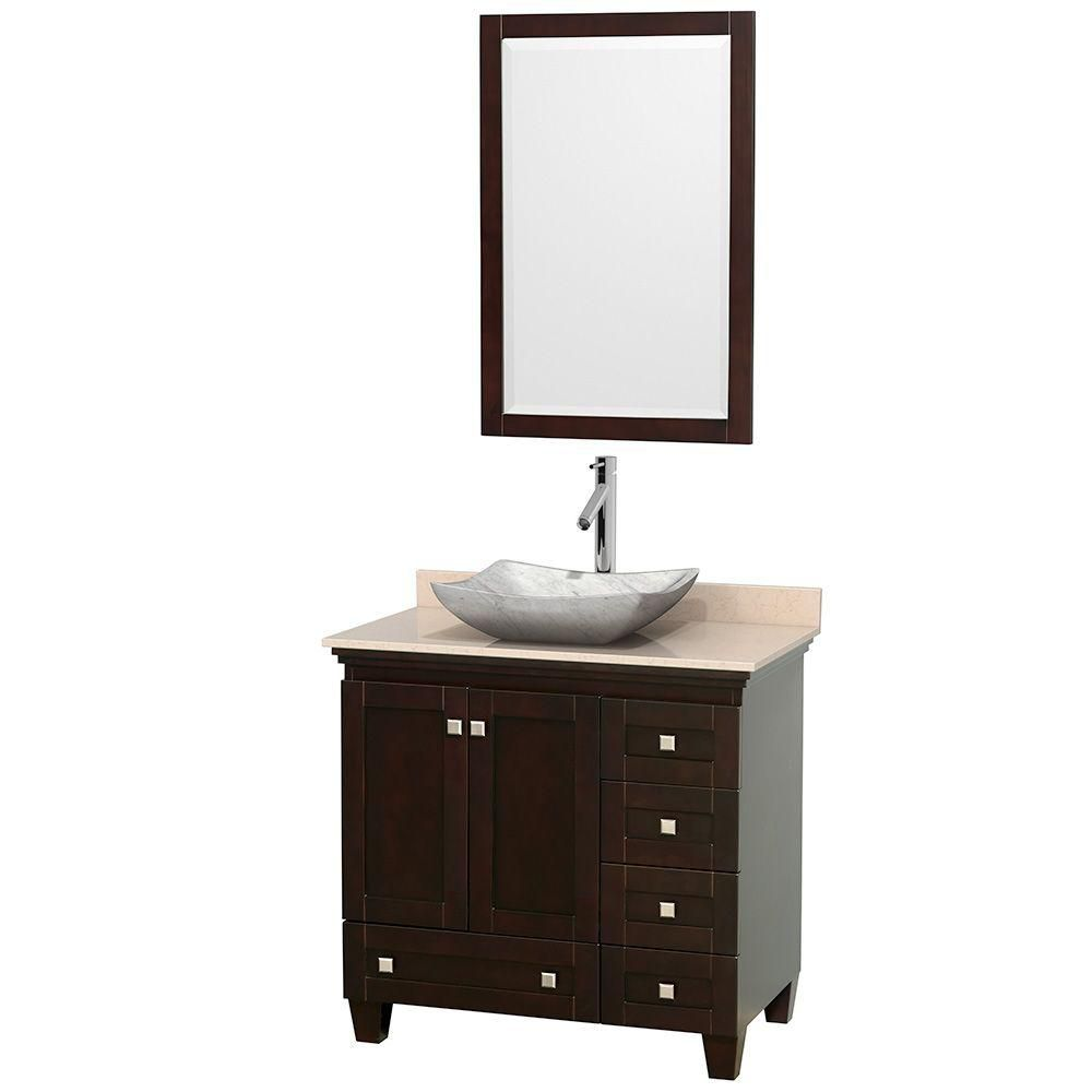 Acclaim 36-inch W Vanity in Espresso with Top in Ivory, White Carrara Sink and Mirror