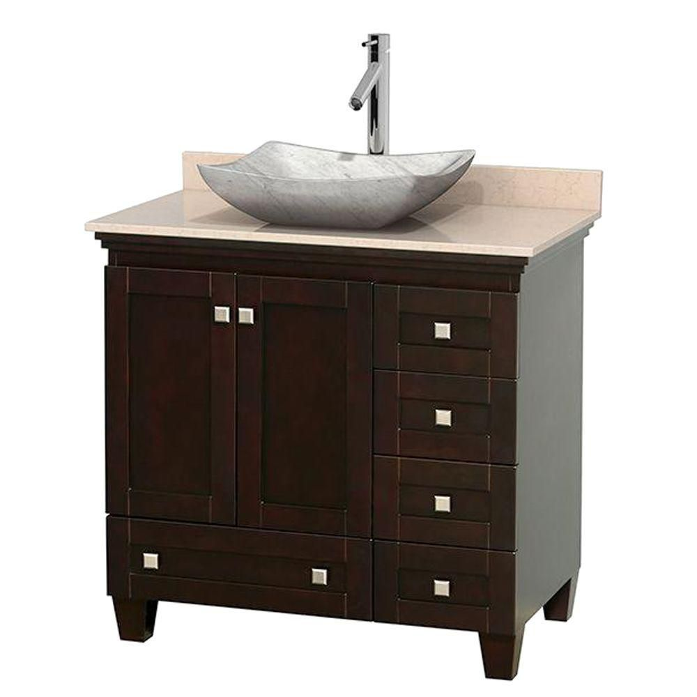 Acclaim 36-inch W Vanity in Espresso with Top in Ivory and White Carrara Sink