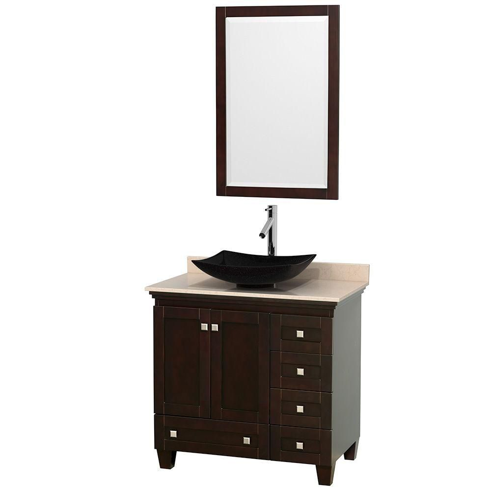 Acclaim 36-inch W Vanity in Espresso with Top in Ivory, Black Sink and Mirror