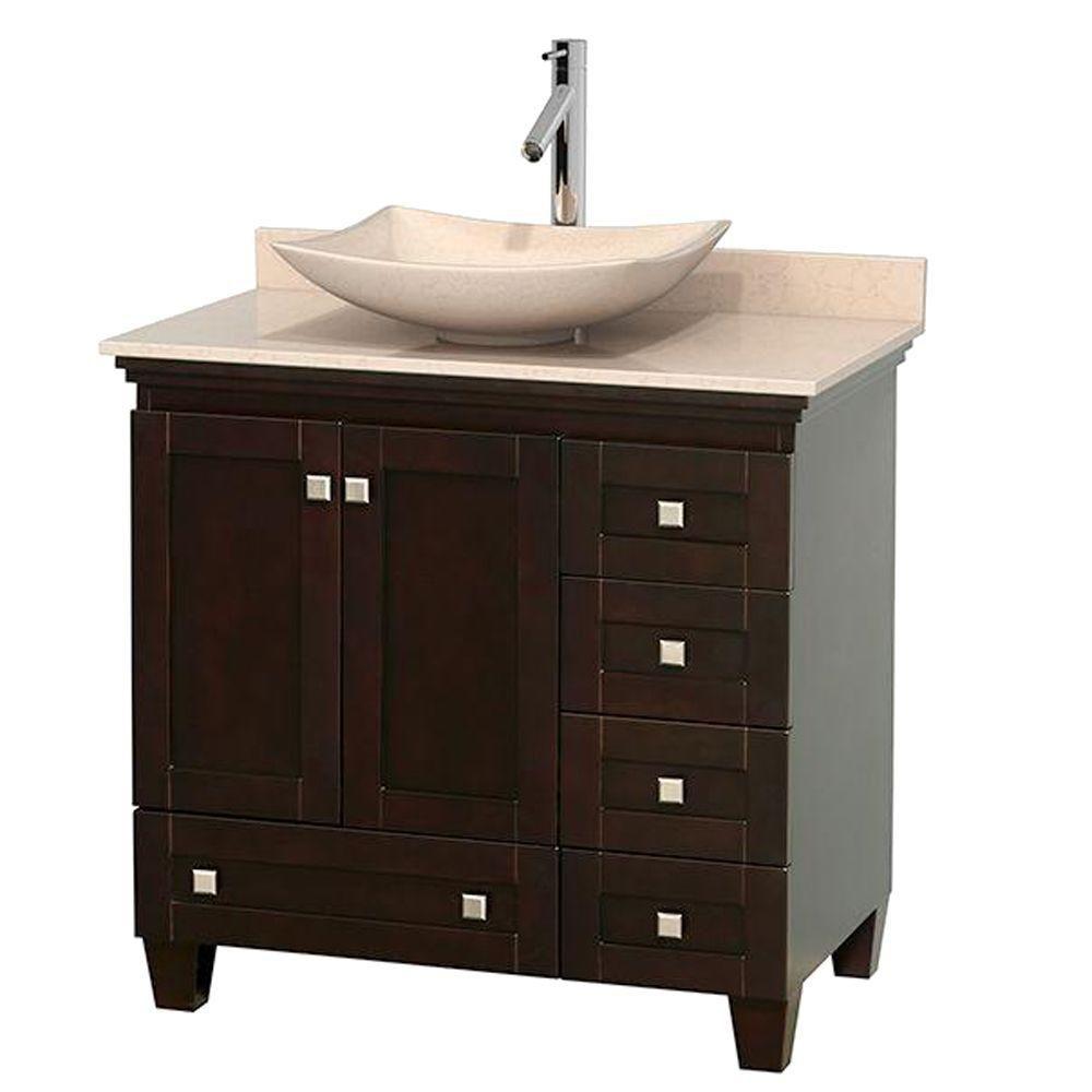 Acclaim 36-inch W 5-Drawer 2-Door Freestanding Vanity in Brown With Marble Top in Beige Tan