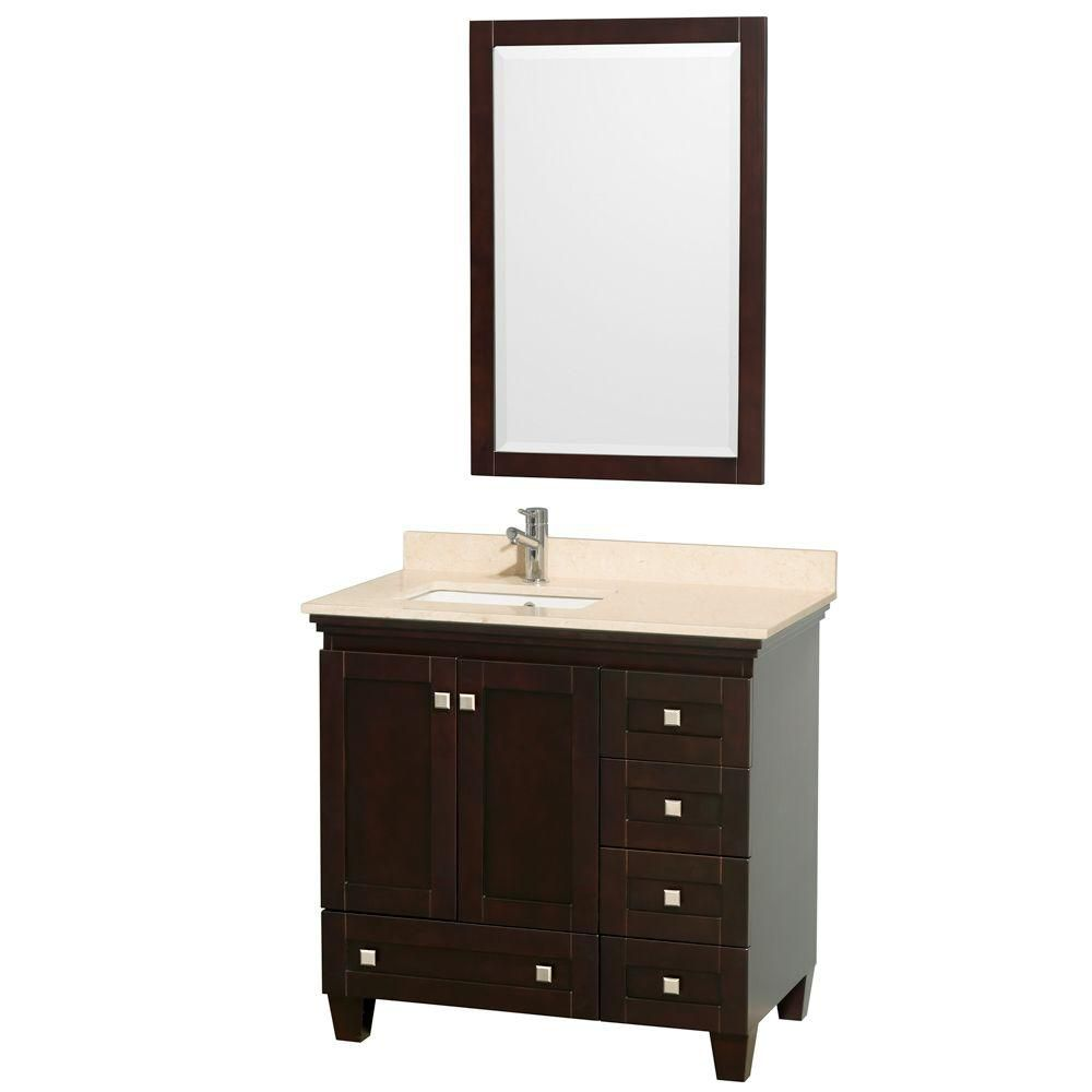 Acclaim 36-inch W Vanity in Espresso with Top in Ivory, Square Sink and Mirror