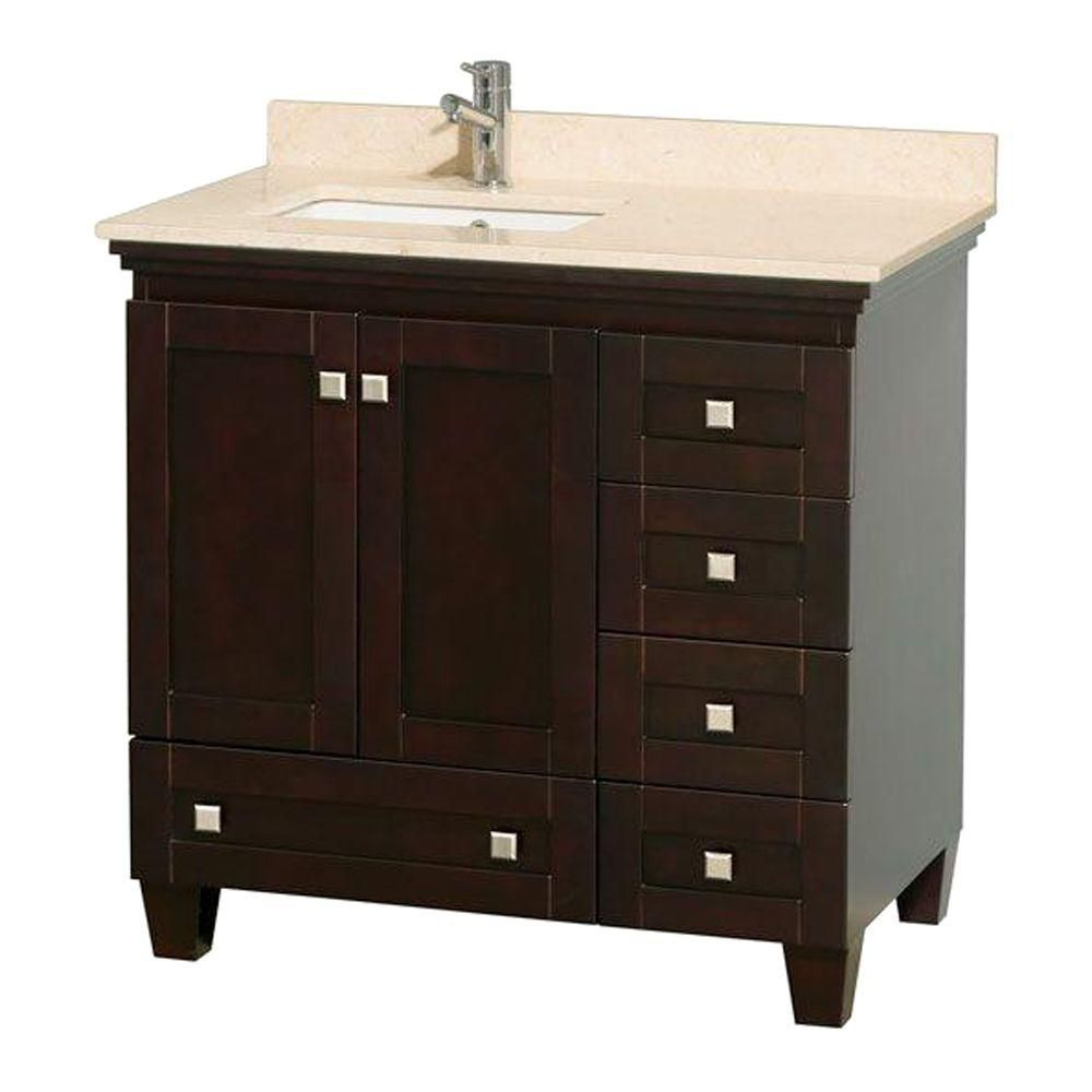 Acclaim 36-inch W Vanity in Espresso with Top in Ivory and Square Sink
