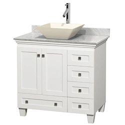 Wyndham Collection Acclaim 36 po Meuble blanc simple et revêtement blanc Carrare, évier couleur os et sans miroir