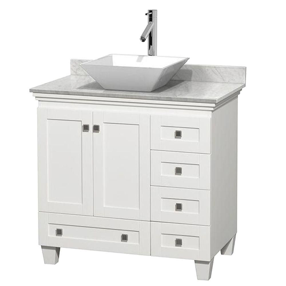 Acclaim 36-inch W Vanity in White with Top in Carrara White and White Sink