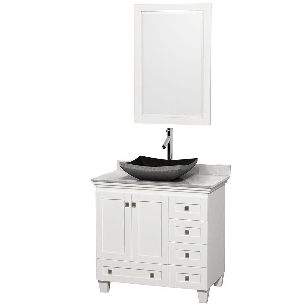 Acclaim 36 po Meuble blanc simple avec revêtement blanc Carrare, évier noir et miroir