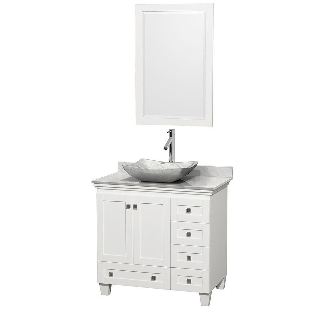 Acclaim 36 po Meuble blanc simple et revêtement blanc Carrare, évier Carrare blanc et sans miroir
