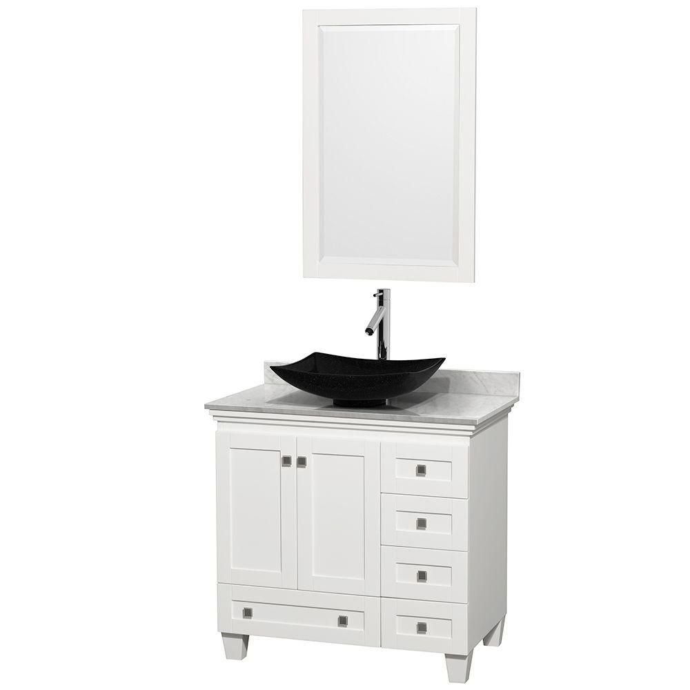 Wyndham Collection Acclaim 36-inch W 5-Drawer 2-Door Freestanding Vanity in White With Marble Top in White With Mirror