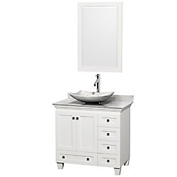 Wyndham Collection Acclaim 36-inch W 5-Drawer 2-Door Freestanding Vanity in White With Marble Top in White