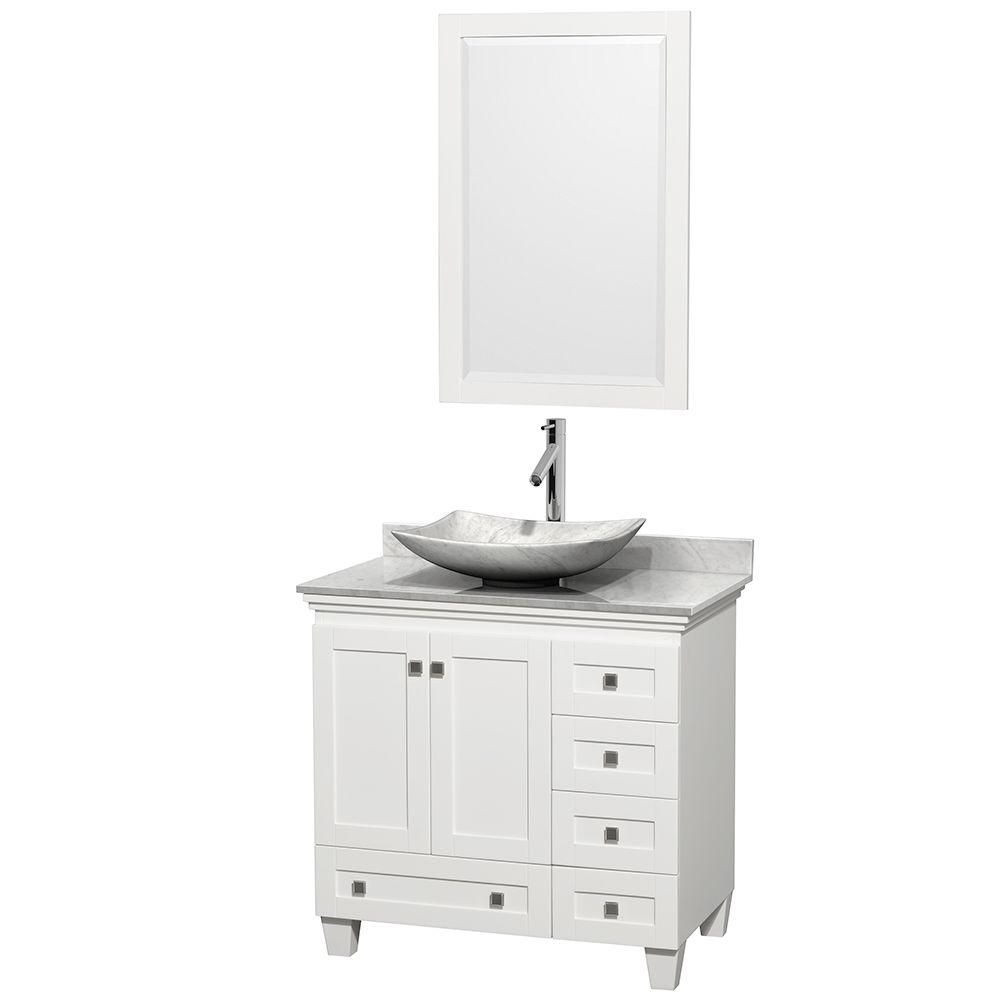 Acclaim 36-inch W Vanity in White with Top in Carrara White and White Carrara Sink