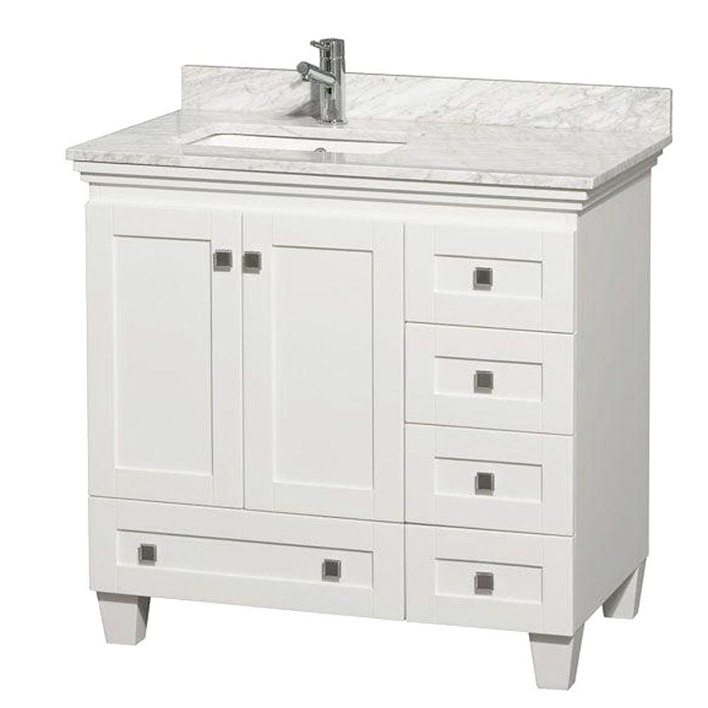 Acclaim 36 po Meuble blanc simple avec revêtement blanc Carrare, évier carré et sans miroir