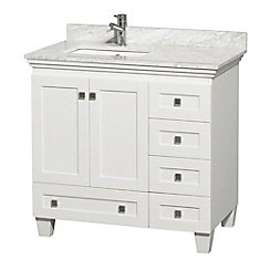 Acclaim 36-inch Vanity in White with Marble Vanity Top in Carrara White and Square Sink