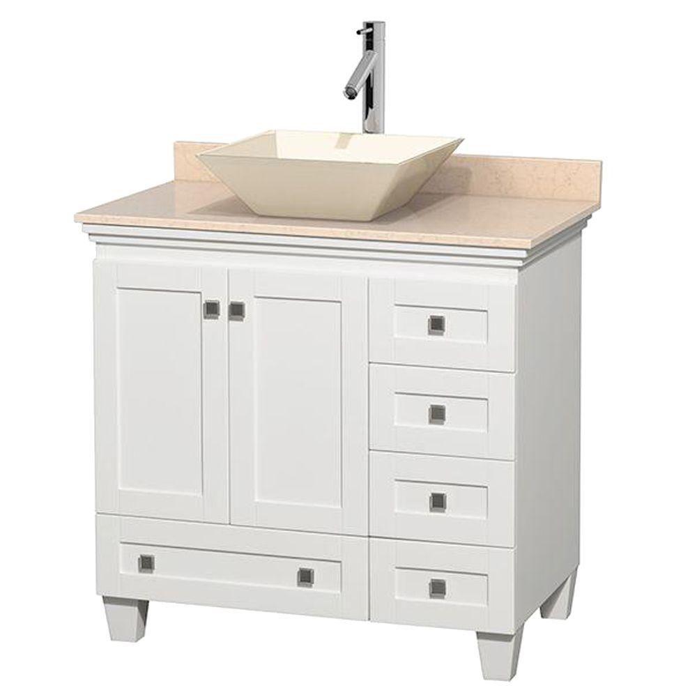 Acclaim 36-inch W 5-Drawer 2-Door Freestanding Vanity in White With Marble Top in Beige Tan