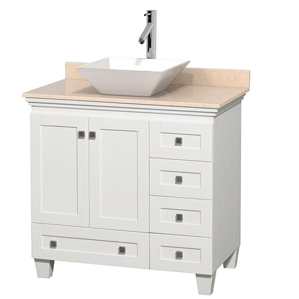 Acclaim 36-inch W Vanity in White with Top in Ivory and White Sink