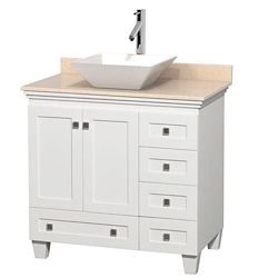 Wyndham Collection Acclaim 36-inch W 5-Drawer 2-Door Freestanding Vanity in White With Marble Top in Beige Tan