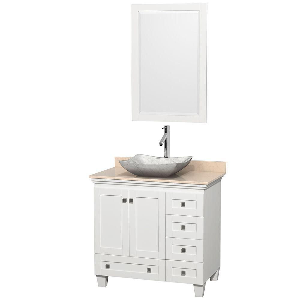 Wyndham Collection Acclaim 36-inch W 5-Drawer 2-Door Vanity in White With Marble Top in Beige Tan With Mirror