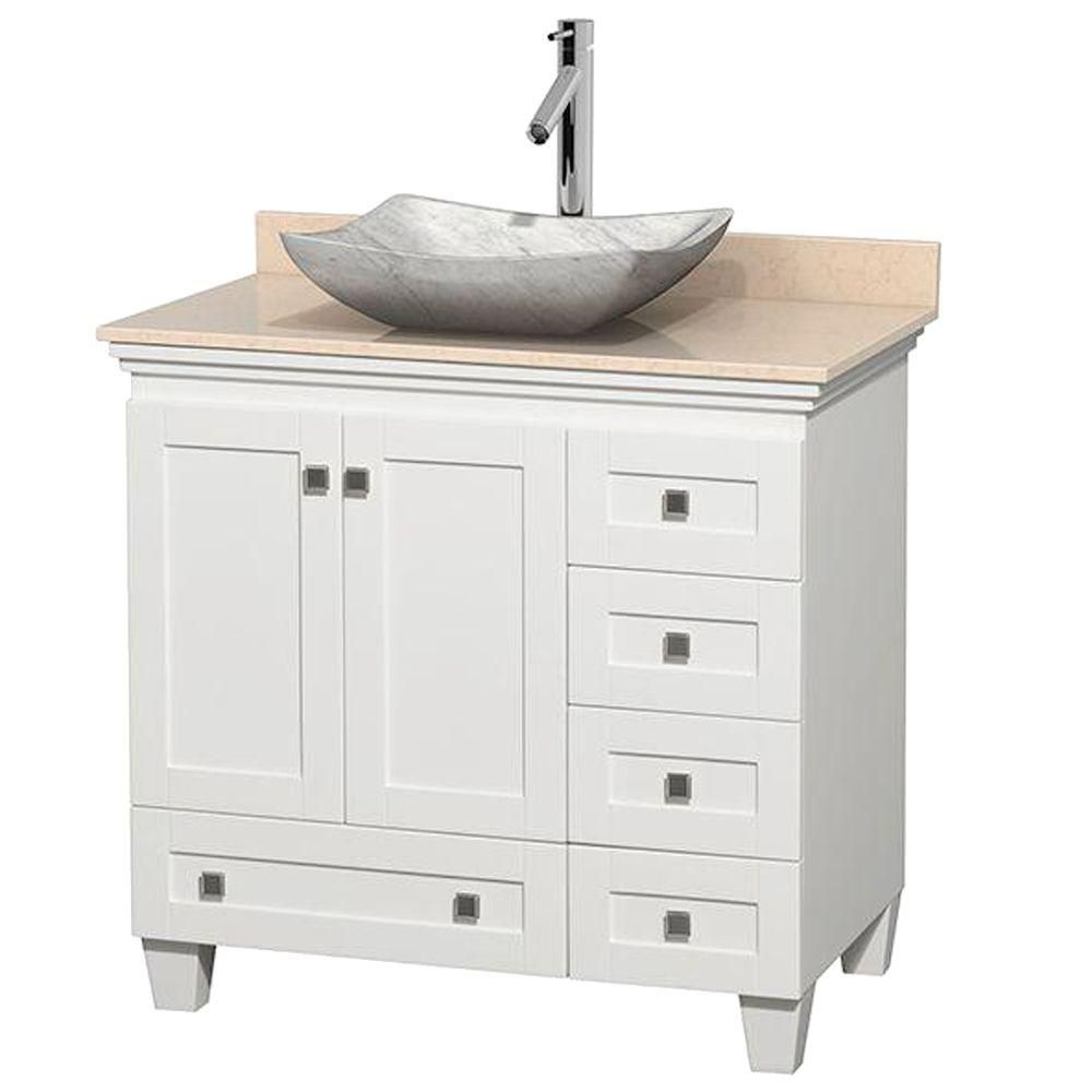 Acclaim 36-inch W Vanity in White with Top in Ivory and White Carrara Sink