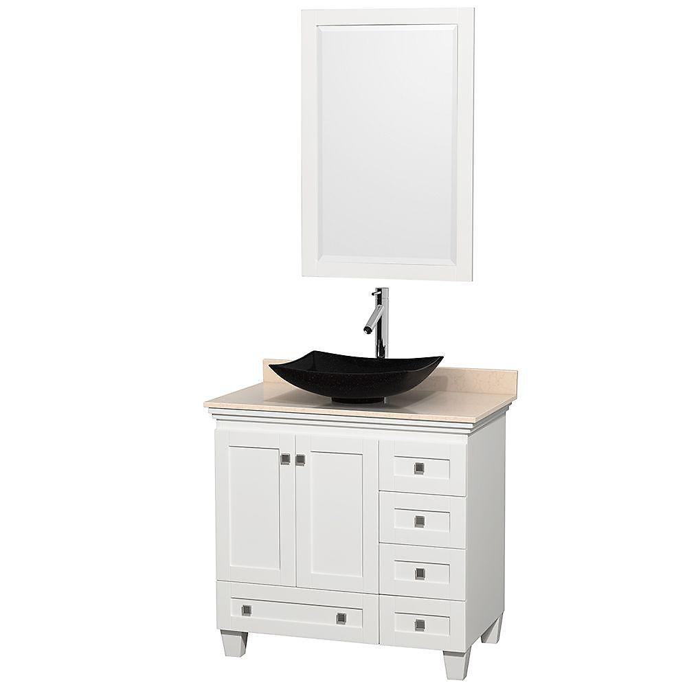 Acclaim 36 po Meuble simple blanc avec revêtement ivoire, évier noir et miroir