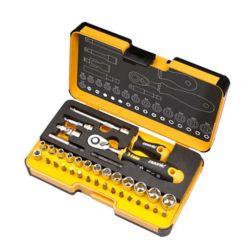 Felo R-GO 1/4 in. 36-Piece Ergonic Ratchet - Stubby - Multi-Tools set Metric