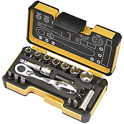 Felo XS Pocket Size 18-Piece Set With Mini Ratchet Metric In Strong Box