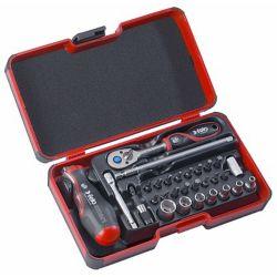 Felo Felo Smart II avec poignée 2 composants: tournevis et poignée en T en un. 29 pièces dans StrongBox
