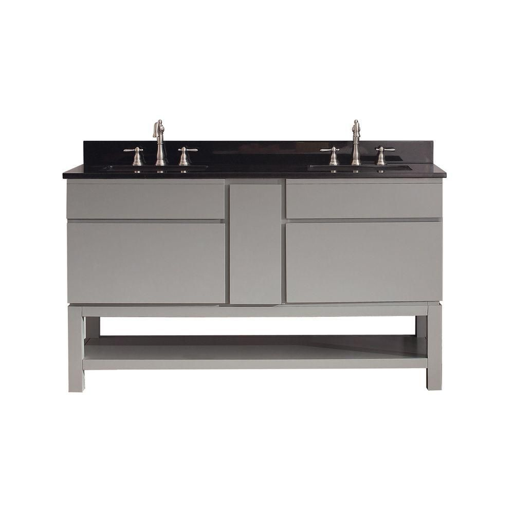 Tribeca 60-inch W Vanity in Chilled Grey Finish with Granite Top in Black