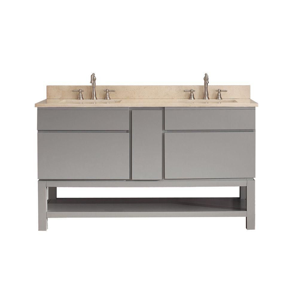 Tribeca 60-inch W Vanity in Chilled Grey Finish with Marble Top in Gala Beige