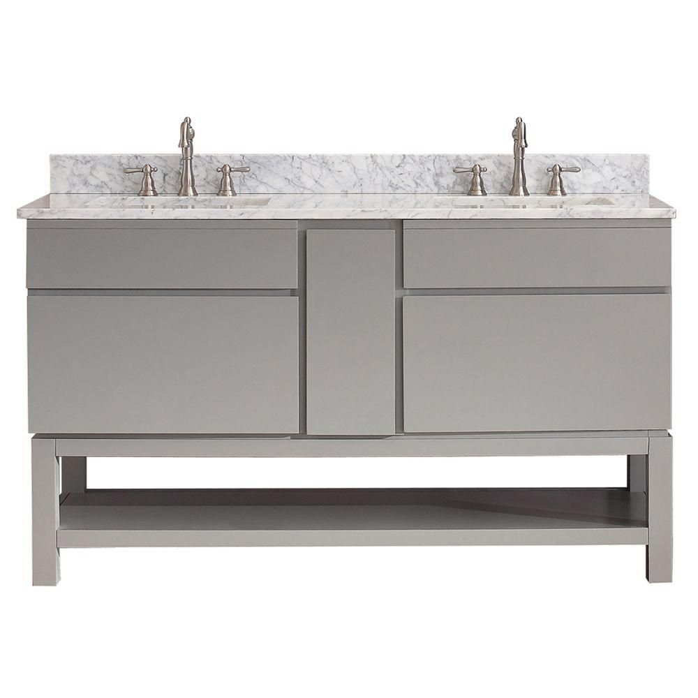 Tribeca 60-inch W Vanity in Chilled Grey Finish with Marble Top in Carrara White