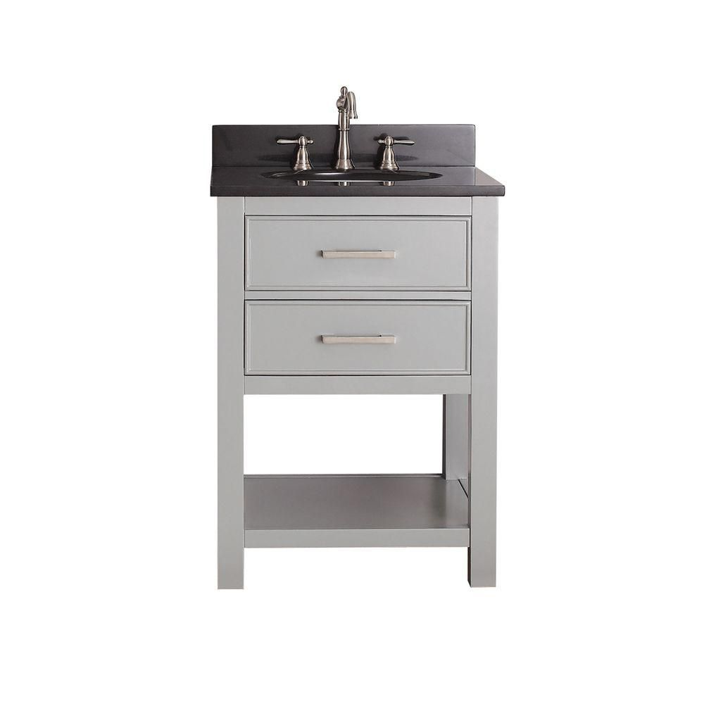 Brooks 24-inch W Vanity in Chilled Grey Finish with Granite Top in Black
