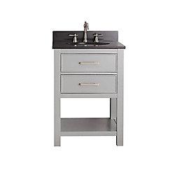 Avanity Brooks 25-inch W 1-Drawer Freestanding Vanity in Grey With Granite Top in Black