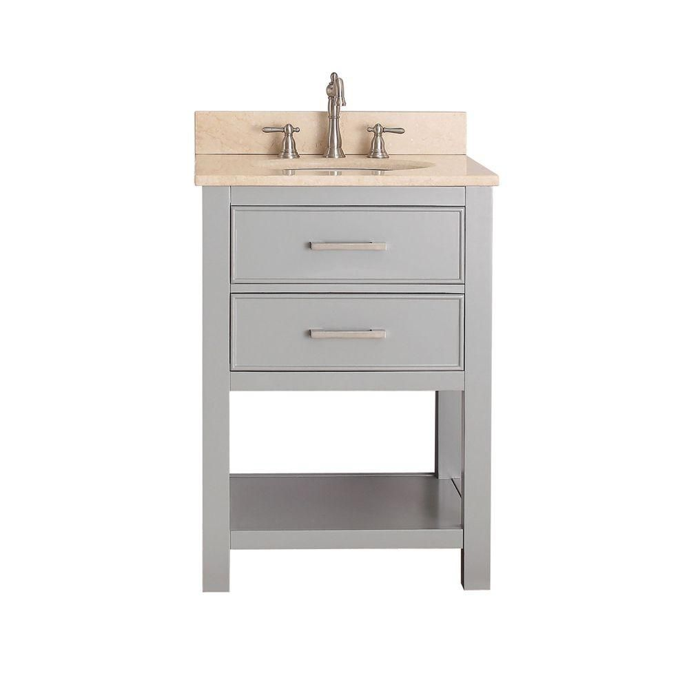 Brooks 24-inch W Vanity in Chilled Grey Finish with Marble Top in Gala Beige
