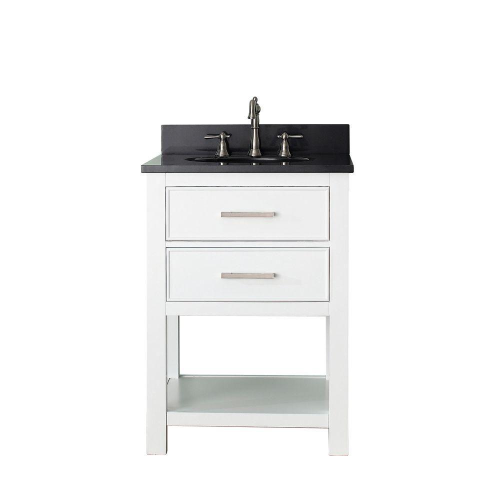Avanity Brooks 25-inch W 1-Drawer Freestanding Vanity in White With Granite Top in Black