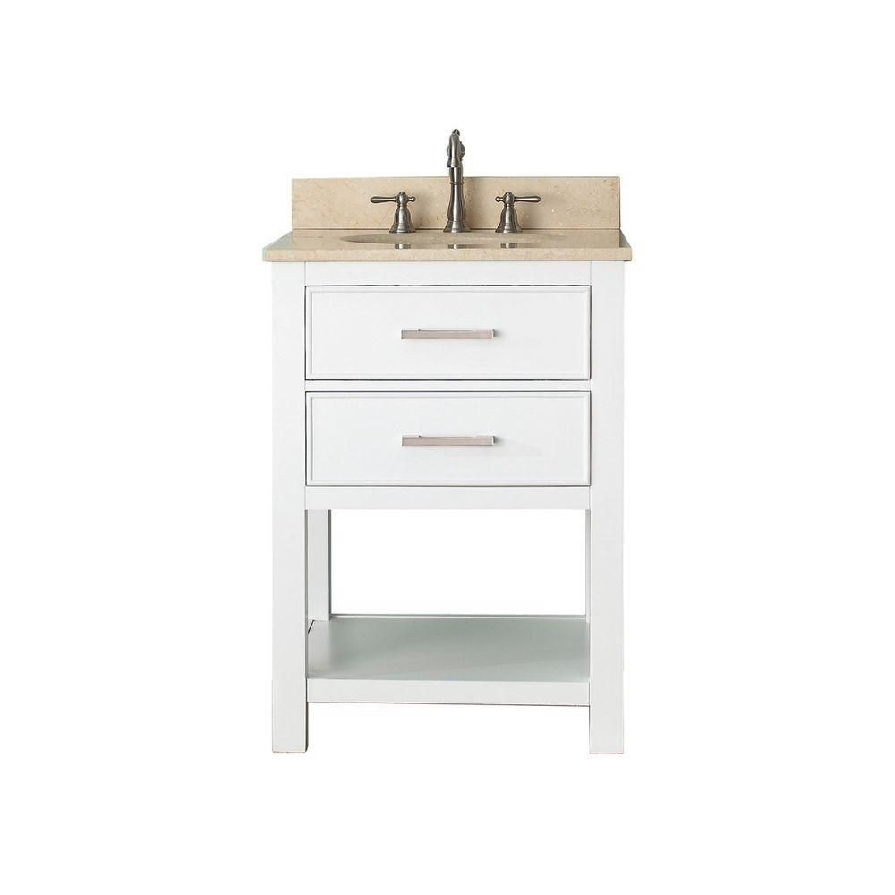 Brooks 24-inch W Vanity in White Finish with Marble Top in Gala Beige