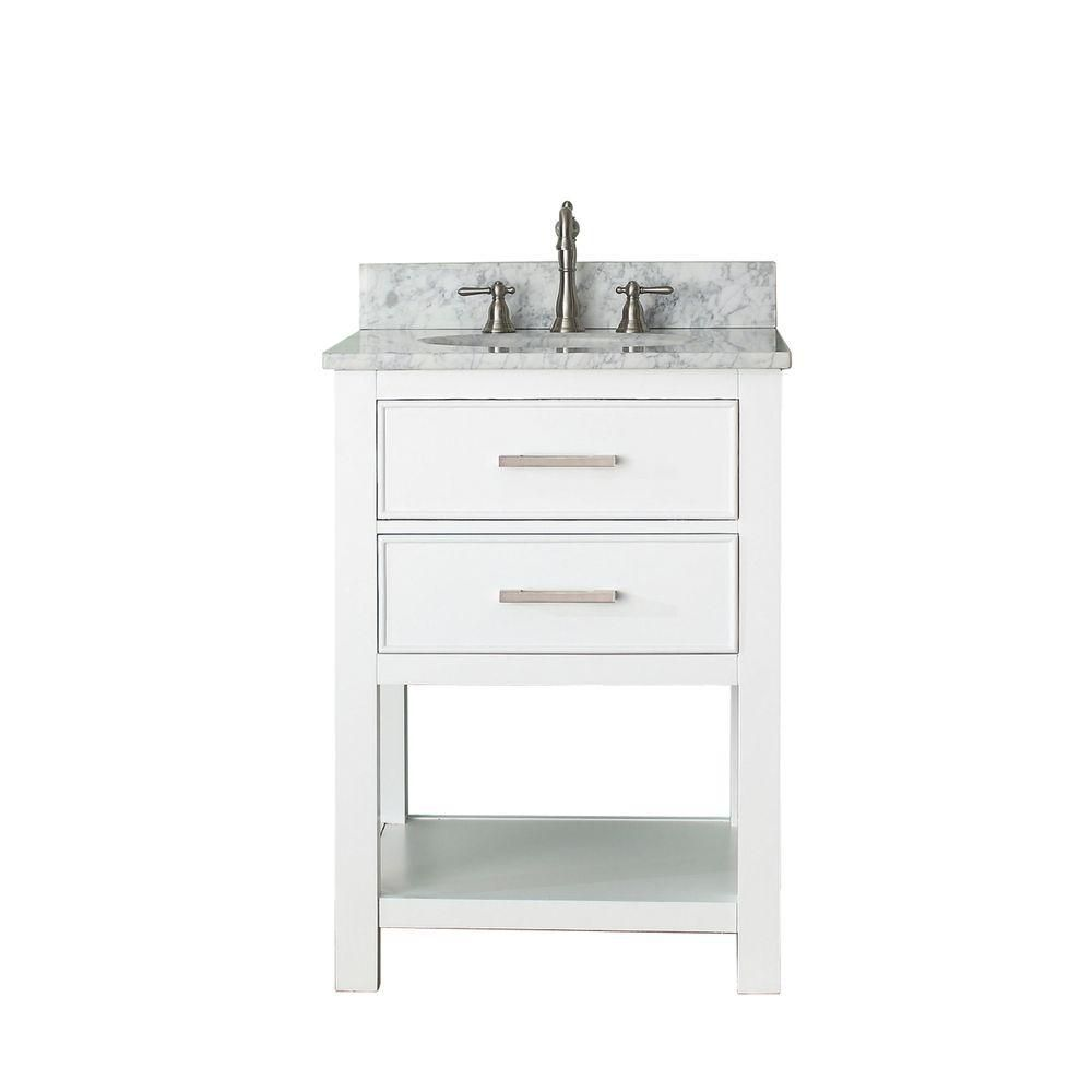 Brooks 24-inch W Vanity in White Finish with Marble Top in Carrara White